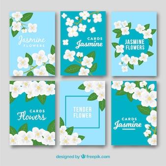 Płaskie szablony kart jasminów