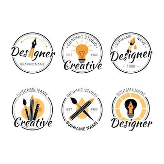 Płaskie szablony logo projektanta graficznego
