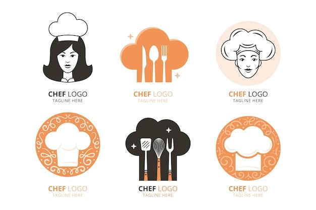 Płaskie szablony logo szefa kuchni kobiet
