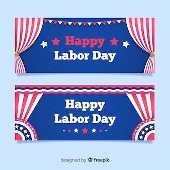 Płaskie szablony transparent dzień pracy