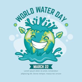 Płaskie szczegółowe ilustracja światowego dnia wody