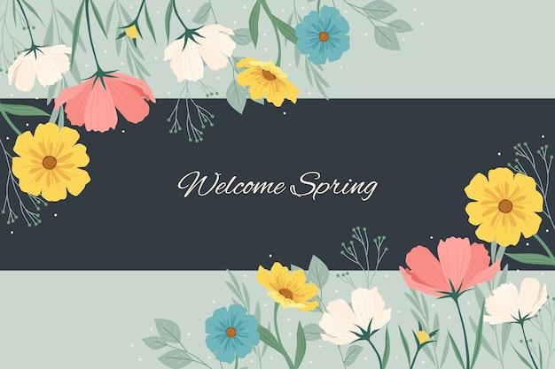 Płaskie szczegółowe kolorowe tło wiosna