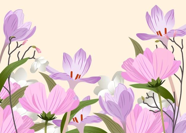 Płaskie szczegółowe tło wiosna