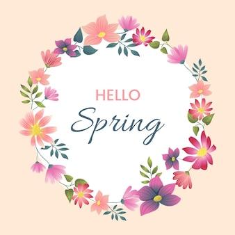 Płaskie szczegółowe wiosna kwiatowy rama