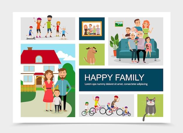 Płaskie szczęśliwa rodzina ze zwierzętami ilustracja