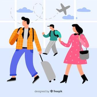 Płaskie szczęśliwe rodzinne tło podróży