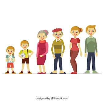 Płaskie szczęśliwe rodziny z dziadkami