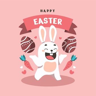 Płaskie szczęśliwy króliczek w tle wielkanocnego dnia