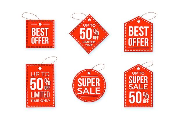 Płaskie tagi sprzedaży z ofertami specjalnymi