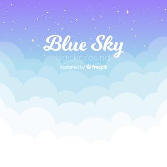 Płaskie tle niebieskiego nieba