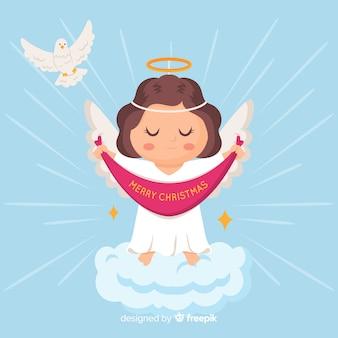 Płaskie tło boże narodzenie anioł
