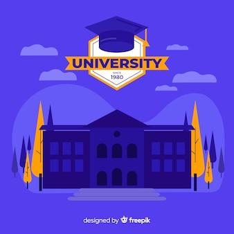 Płaskie tło budynku uniwersyteckiego