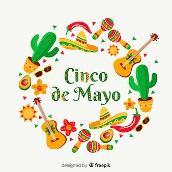 Płaskie tło cinco de mayo
