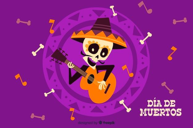 Płaskie tło dia de muertos i gitara