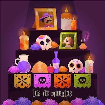 Płaskie tło día de muertos