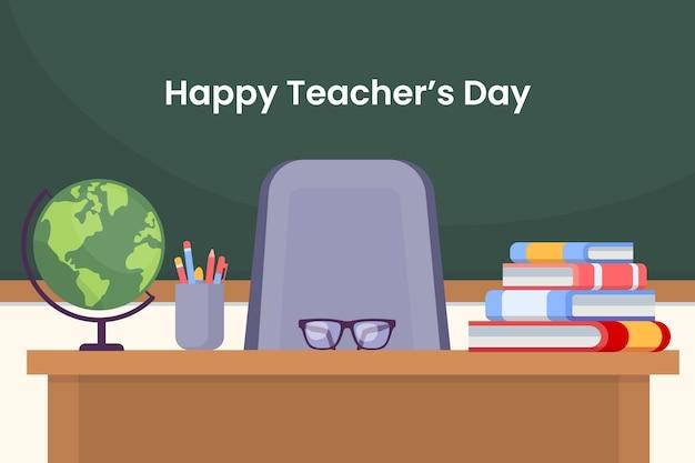 Płaskie tło dnia nauczyciela