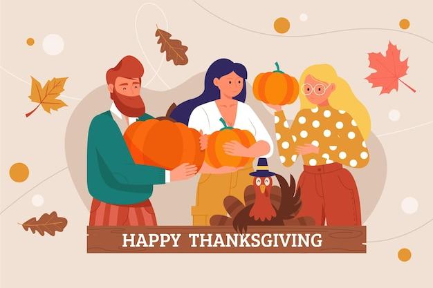 Płaskie tło dziękczynienia
