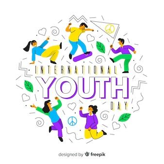 Płaskie tło dzień młodzieży