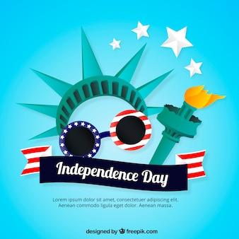 Płaskie tło dzień niepodległości z posągiem wolności