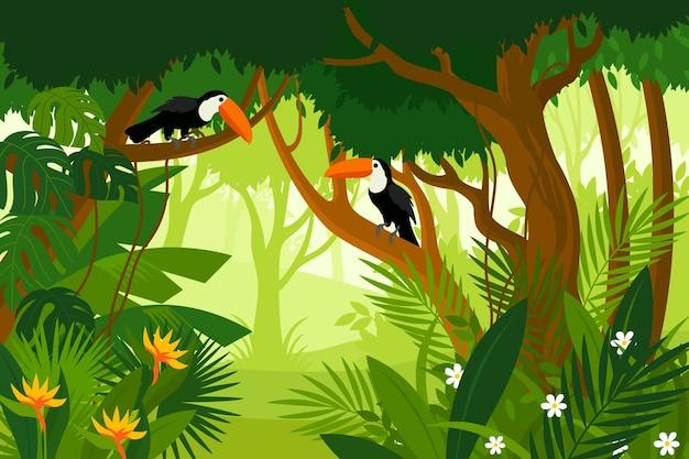Płaskie tło dżungli z pięknymi ptakami pecan
