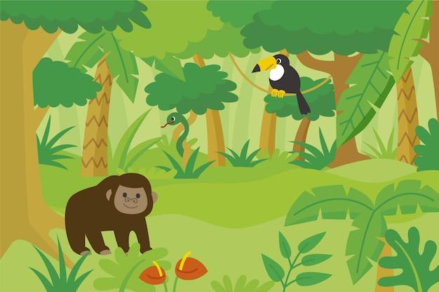 Płaskie tło dżungli z różnymi zwierzętami