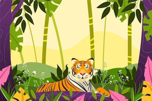 Płaskie tło dżungli z tygrysem