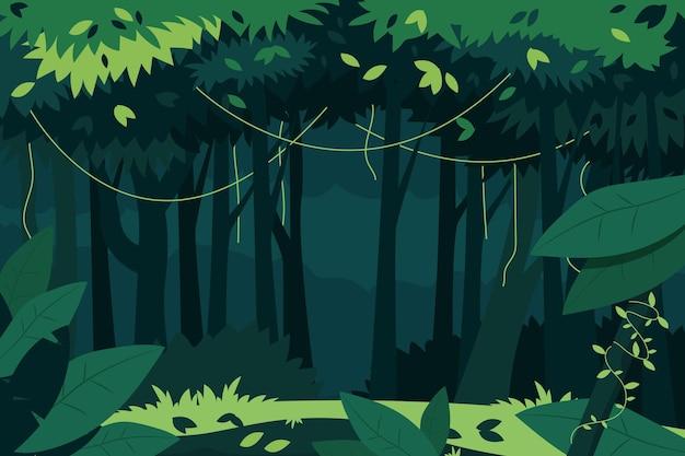 Płaskie tło dżungli