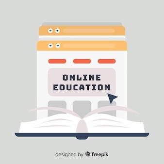 Płaskie tło edukacji online