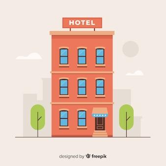 Płaskie tło fasady hotelu