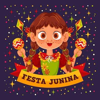 Płaskie tło festa junina