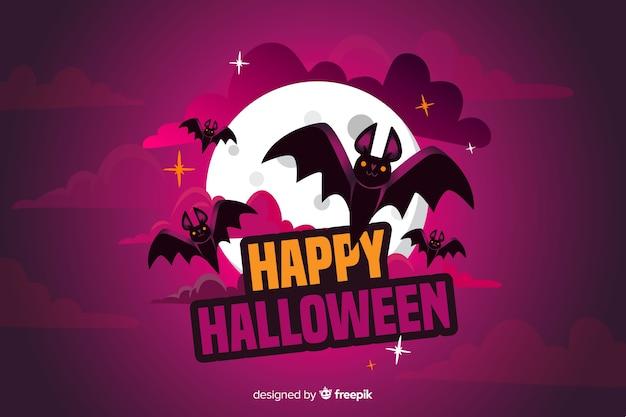 Płaskie tło halloween z bat i pełni księżyca