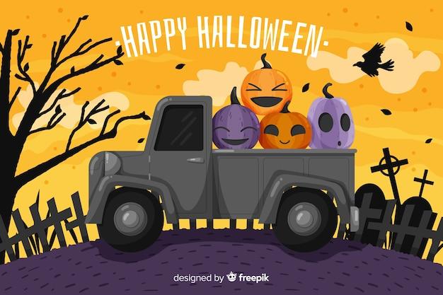 Płaskie tło halloween z ciężarówką
