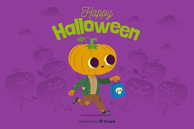 Płaskie tło halloween z cute dyni