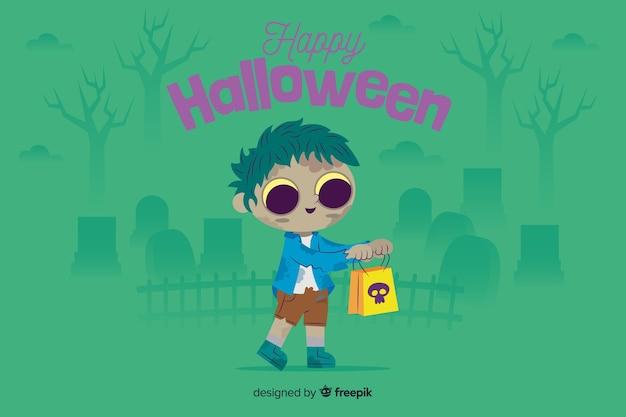 Płaskie tło halloween z cute zombie