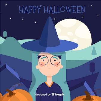 Płaskie tło halloween z czarownicą