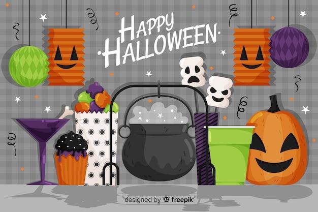 Płaskie tło halloween z kocioł czarownicy