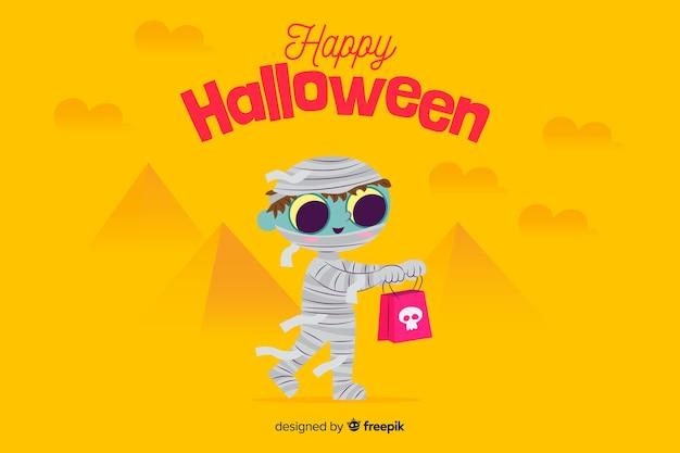 Płaskie tło halloween z ładny kostium mumia