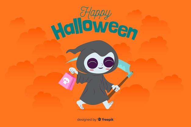 Płaskie tło halloween z ładny kostium śmierci