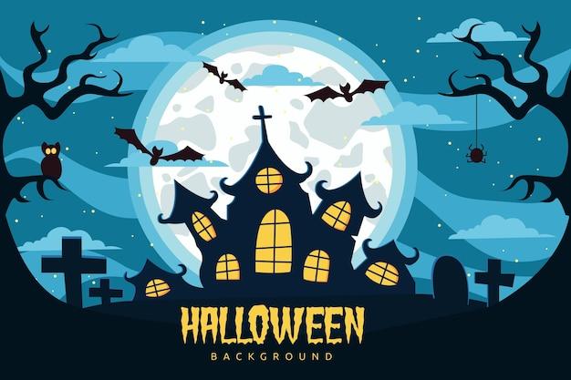 Płaskie tło halloween z nawiedzonym domem
