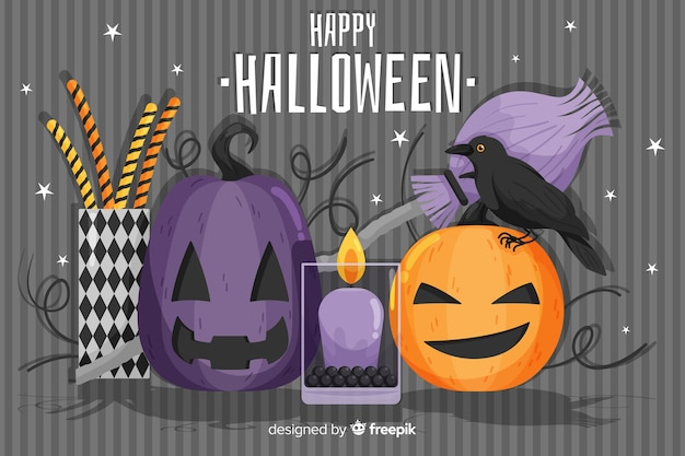 Płaskie tło halloween z ręcznie rysowane dynie