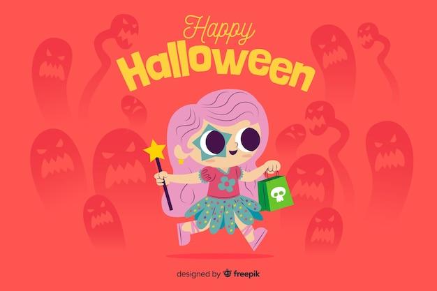 Płaskie tło halloween z słodkie dziecko