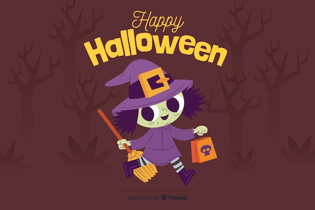 Płaskie tło halloween z uroczą czarownicą