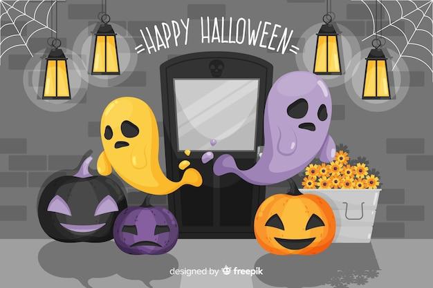 Płaskie tło halloween ze smutnymi duchami