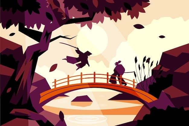 Płaskie tło ilustracji samuraja