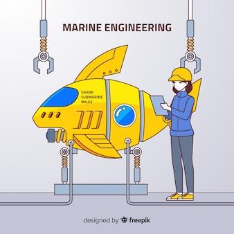 Płaskie tło inżynierii morskiej