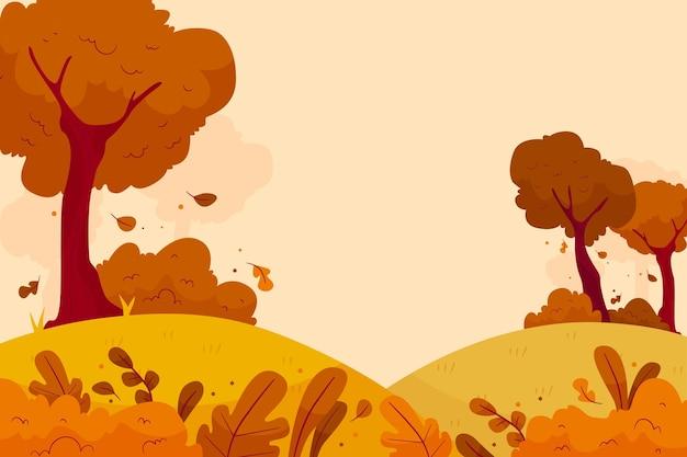 Płaskie tło jesień z lasem
