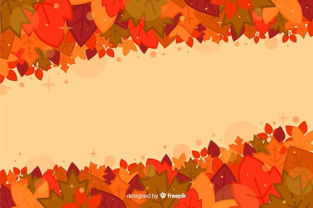 Płaskie tło jesień z liśćmi