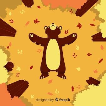Płaskie tło jesień z niedźwiedzia grizzly