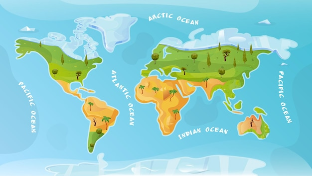 Płaskie tło mapy świata z ilustracją napisu arktycznego pacyfiku atlantyckiego oceanu indyjskiego