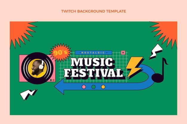 Płaskie tło nostalgicznego festiwalu muzycznego z lat 90.